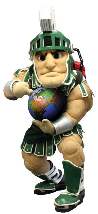 Image of Sparty holding a globe