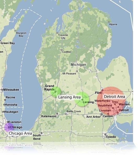 Internship Areas Example Map