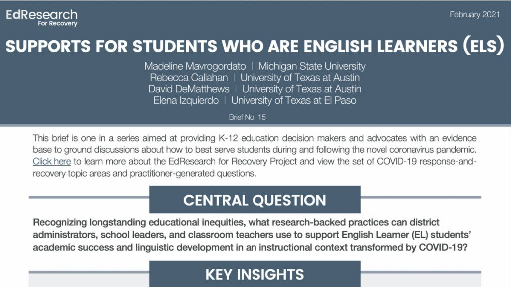 How can we support English learners during COVID-19?